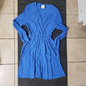 Anthropologie maeve blue plunge mini dress xs